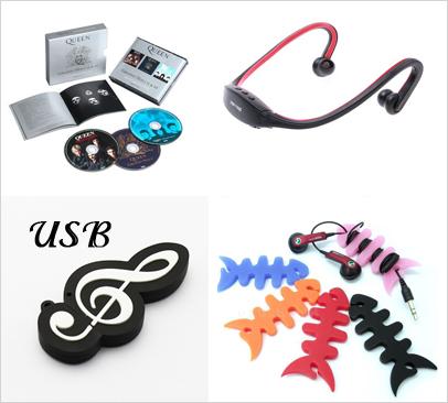 Диск, беспроводные наушники, флеш-накопитель, держатель для проводов.