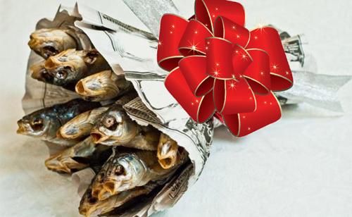 Букет из сушенной рыбы для настоящих мужчин.
