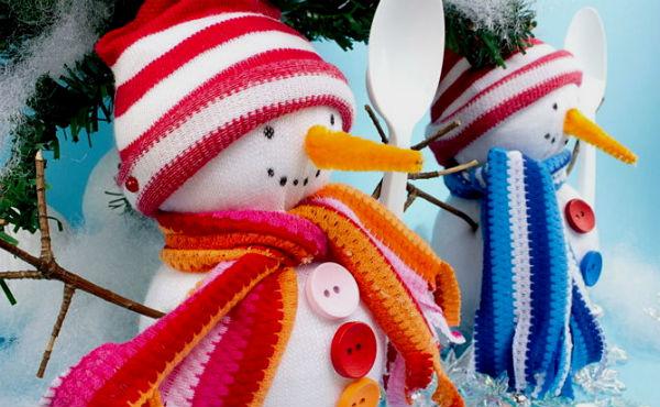 Снеговик из носка своими руками.