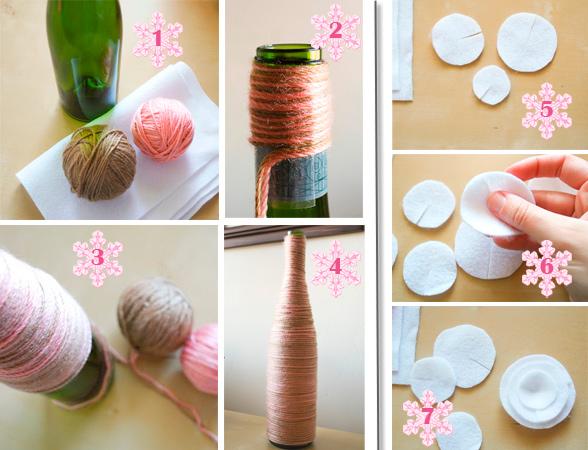 Этапы создания вазы из бутылки и ниток.