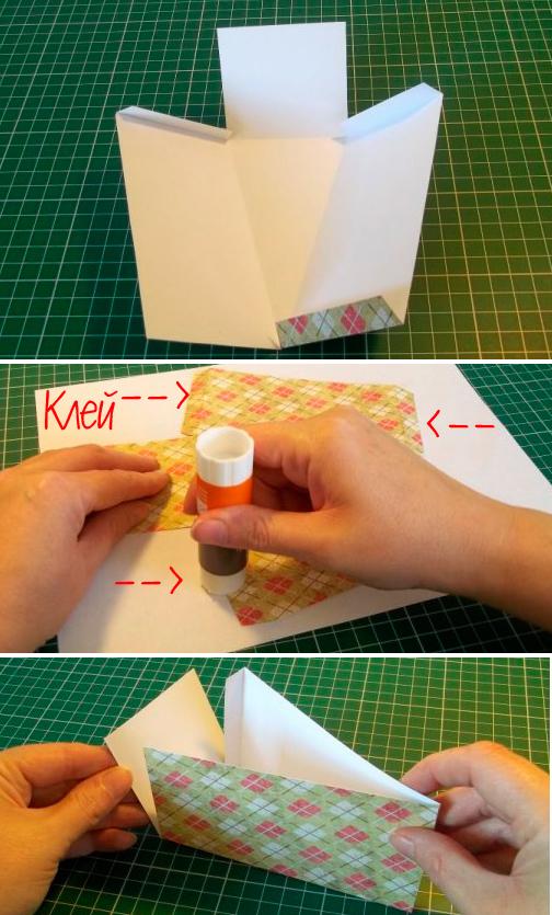 Склеить нижнюю часть коробочки.