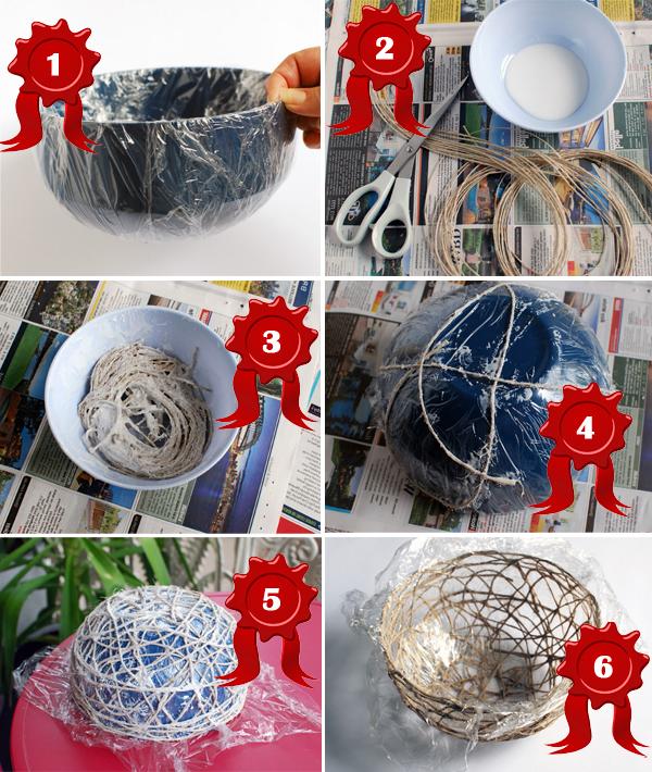 Как сделать вазу из ниток.