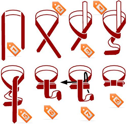 Как повязать галстук-бабочку, схема.