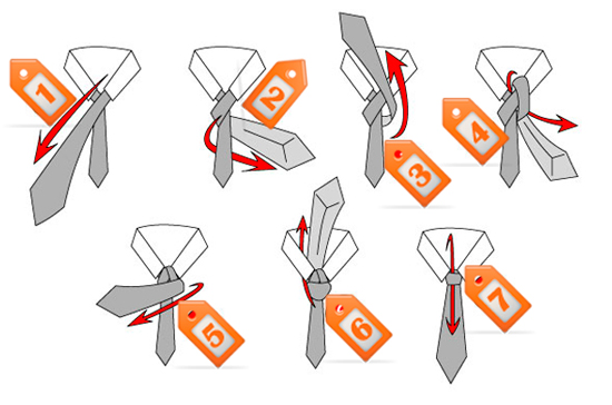 Как повязать галстук, схема.