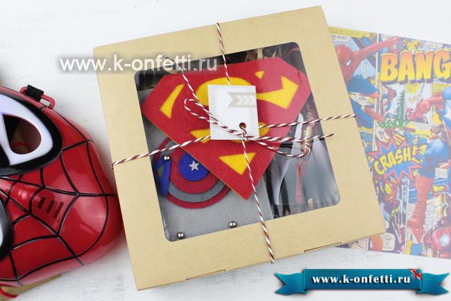Коробка в подарками в стиле разных Супергероев из комиксов Марвел и DC (6 идей)