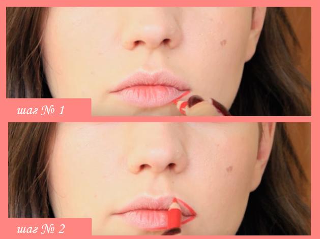 Как накрасить губы алой помадой.
