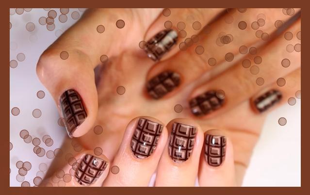 Маникюр в виде плитки шоколада в домашних условиях