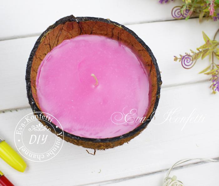 Как сделать свечу в кокосе.