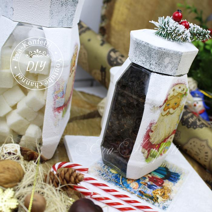 Декор стеклянных банок, бутылок и ваз (6 видео-мастер-классов)