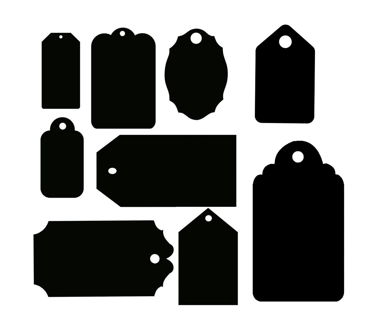 Шаблоны бирок или тэгов разных форм и размеров