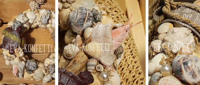 Декоративный венок в морском стиле из ракушек своими руками (видео мастер-класс)