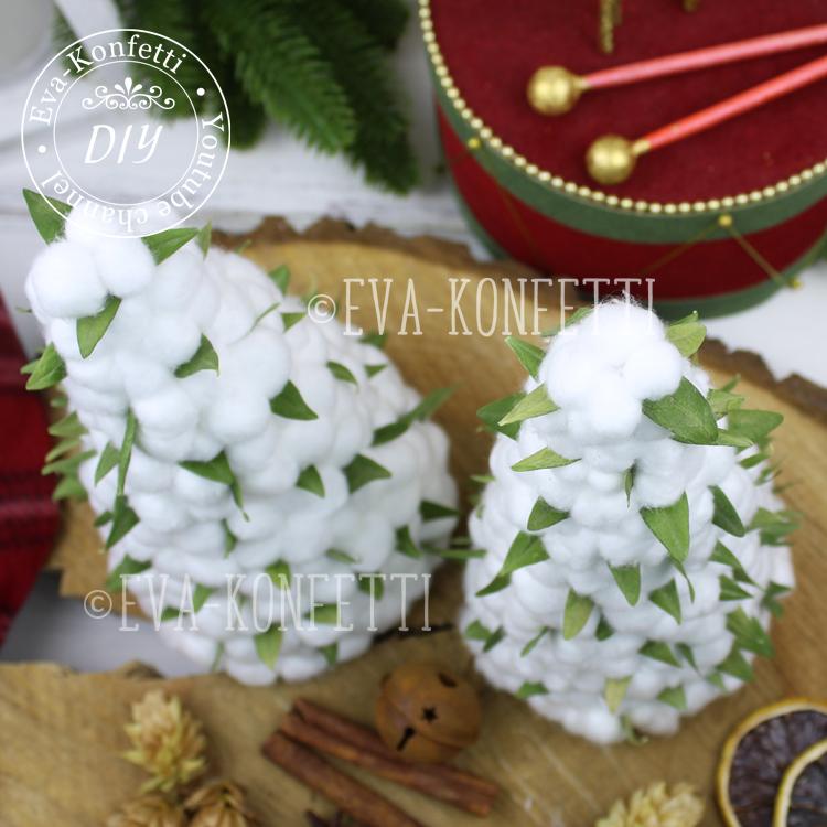 Новогодний арома-домик с поддоном и подсветкой, елочки из хлопка и венок в виде месяца