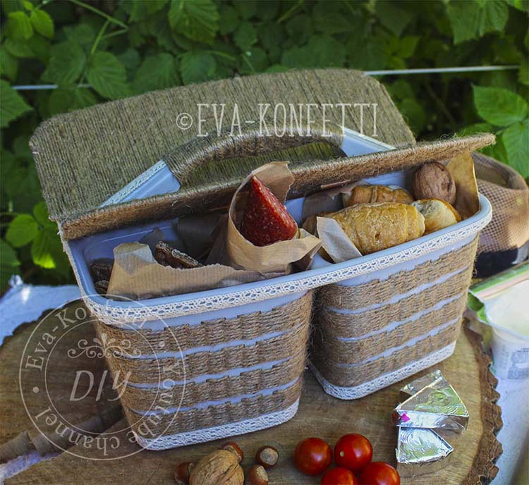 Как сделать удобную корзину для пикника из дешевого органайзера своими руками
